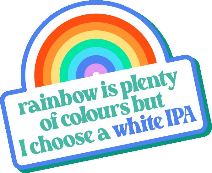 rainbow white IPA sticker